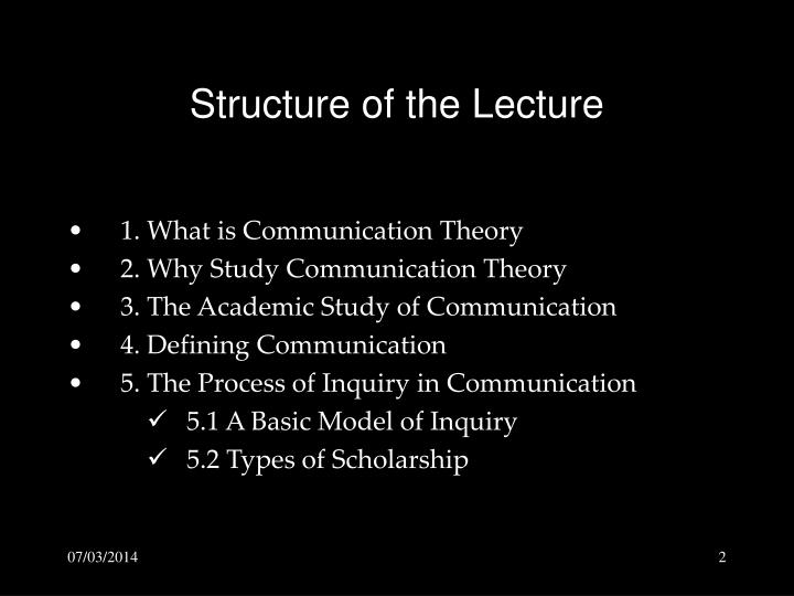 Structure of the lecture