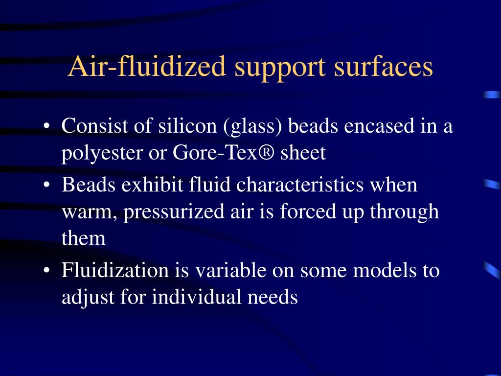 Air-fluidized support surfaces