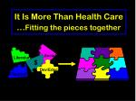 it is more than health care fitting the pieces together