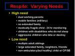 respite varying needs