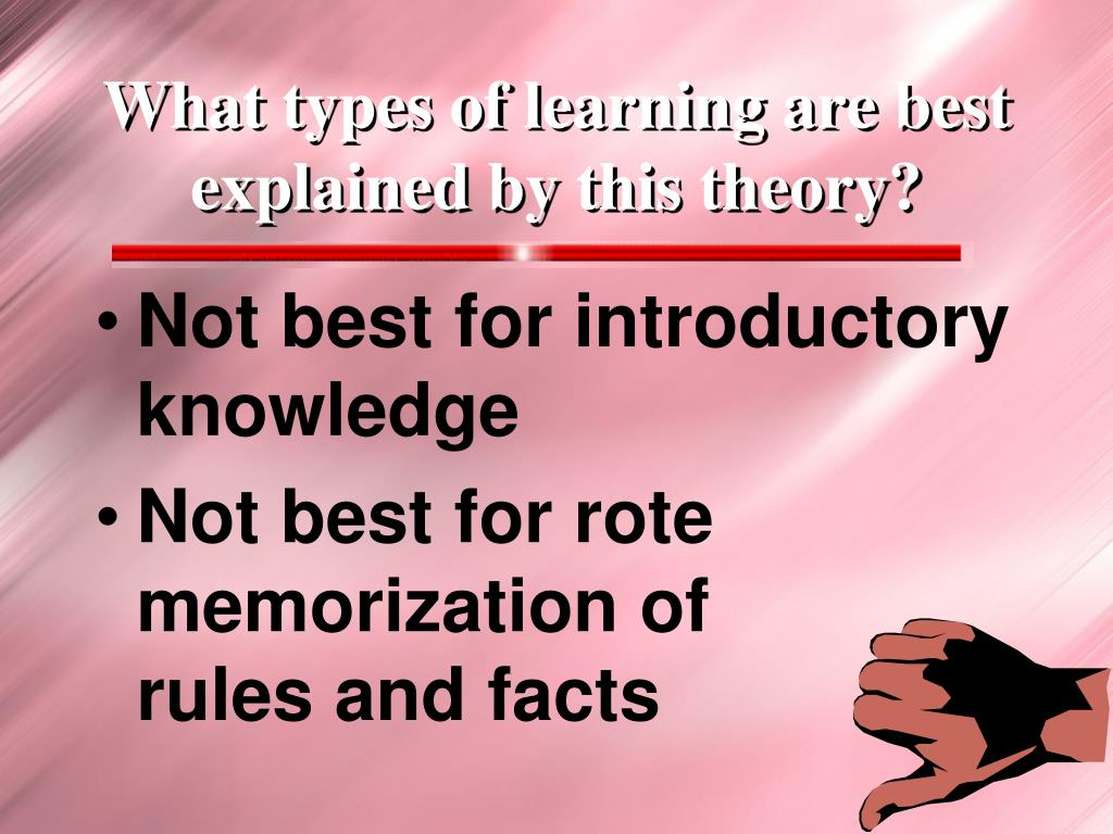 What types of learning are best explained by this theory?
