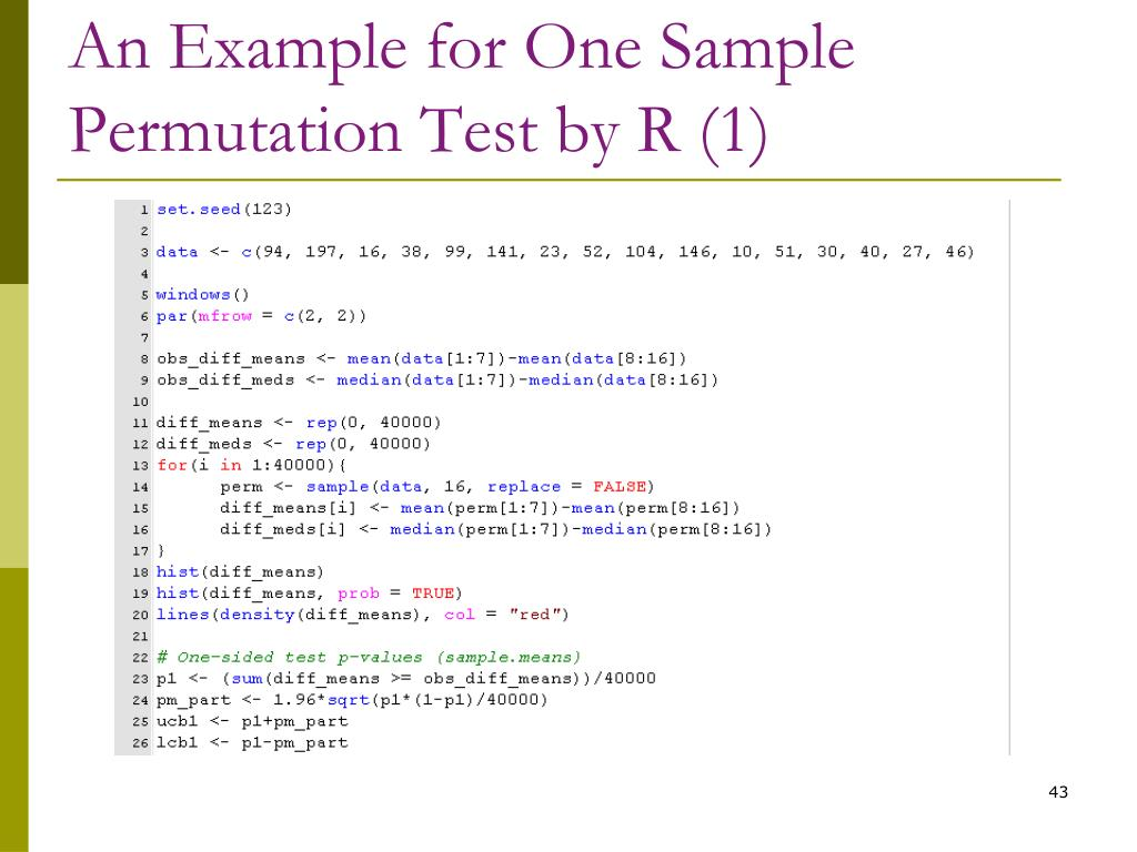 An Example for One Sample Permutation Test by R (1)