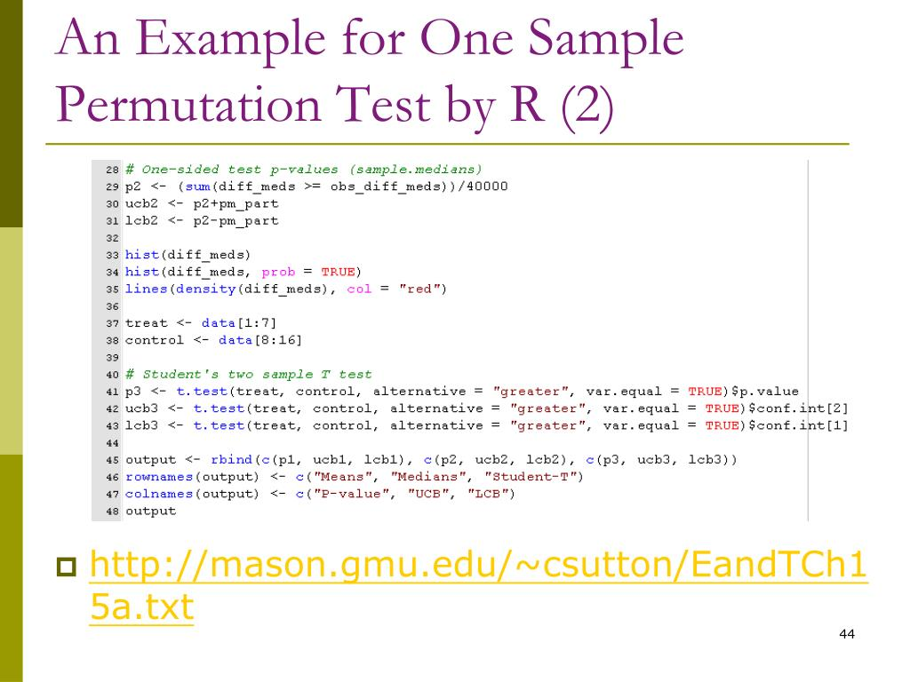 An Example for One Sample Permutation Test by R (2)