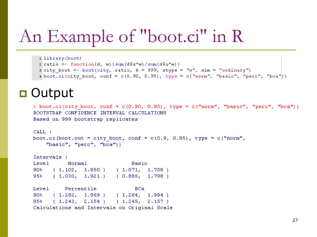 "An Example of ""boot.ci"" in R"