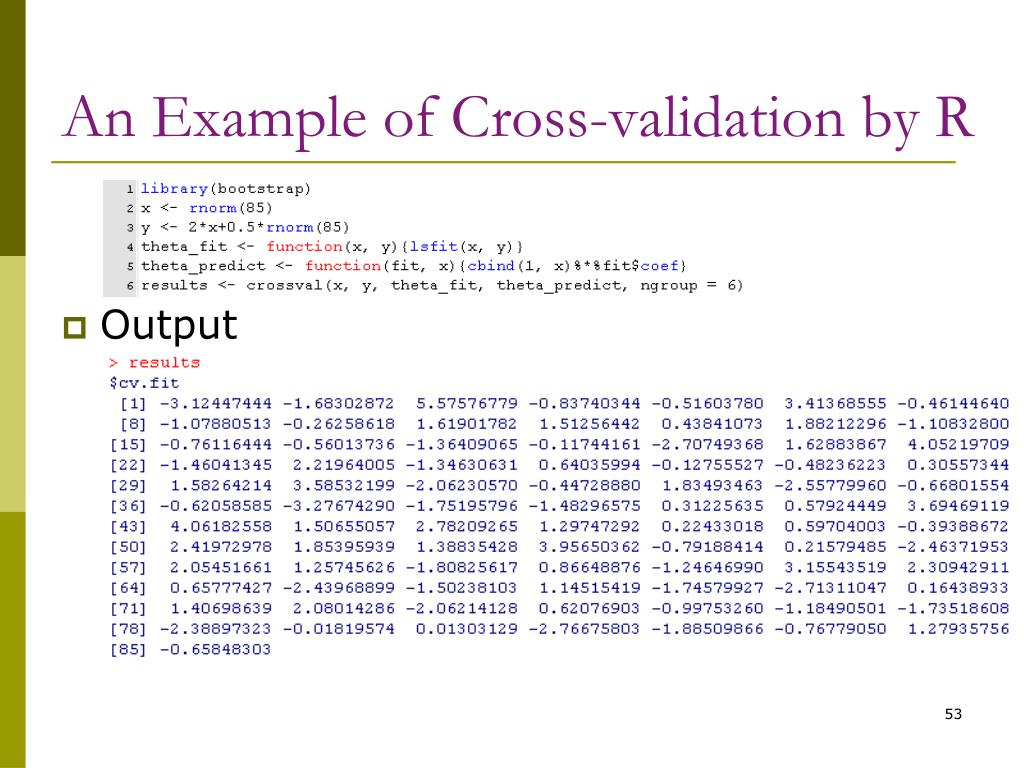 An Example of Cross-validation by R