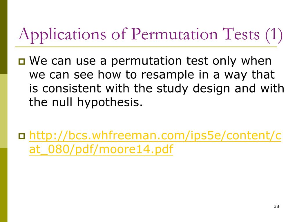 Applications of Permutation Tests (1)