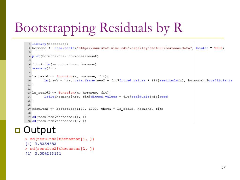 Bootstrapping Residuals by R