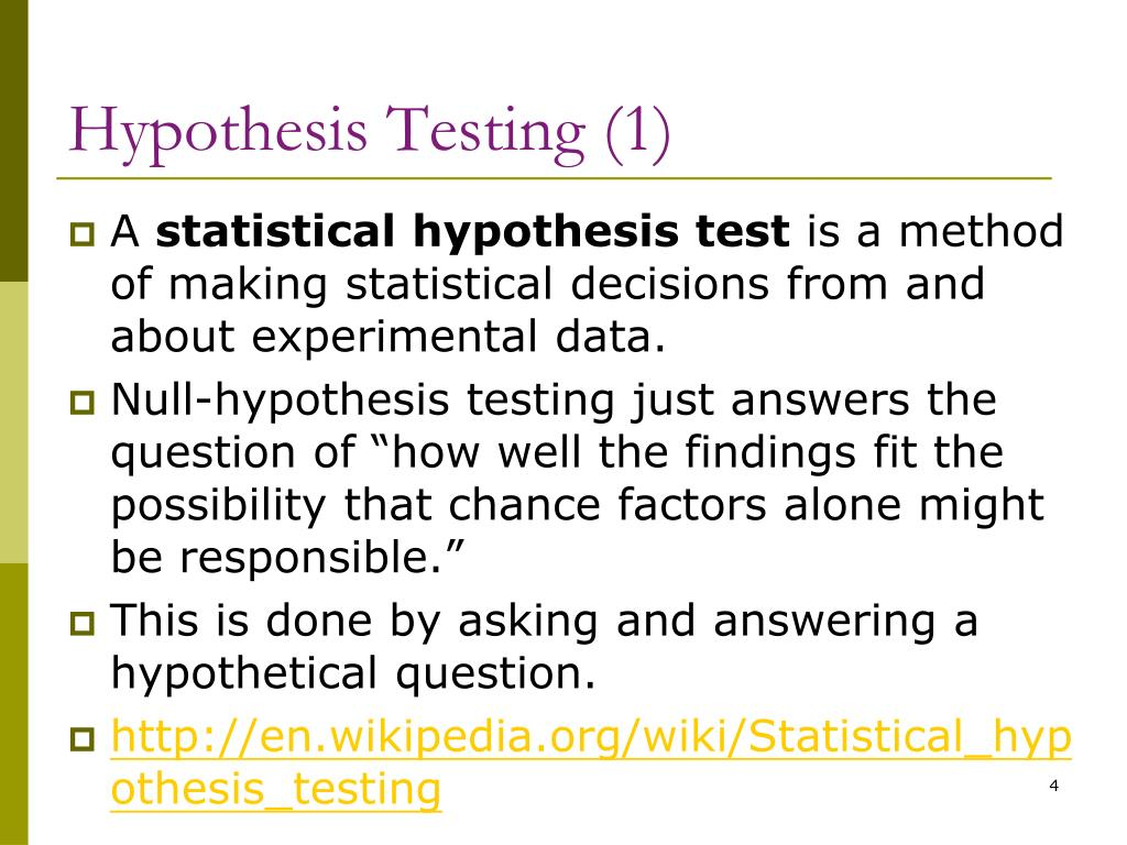 statistical hypothesis test answers
