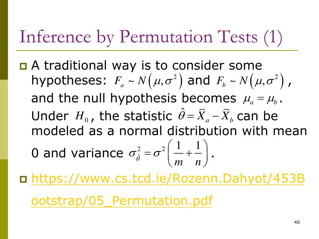 Inference by Permutation Tests (1)
