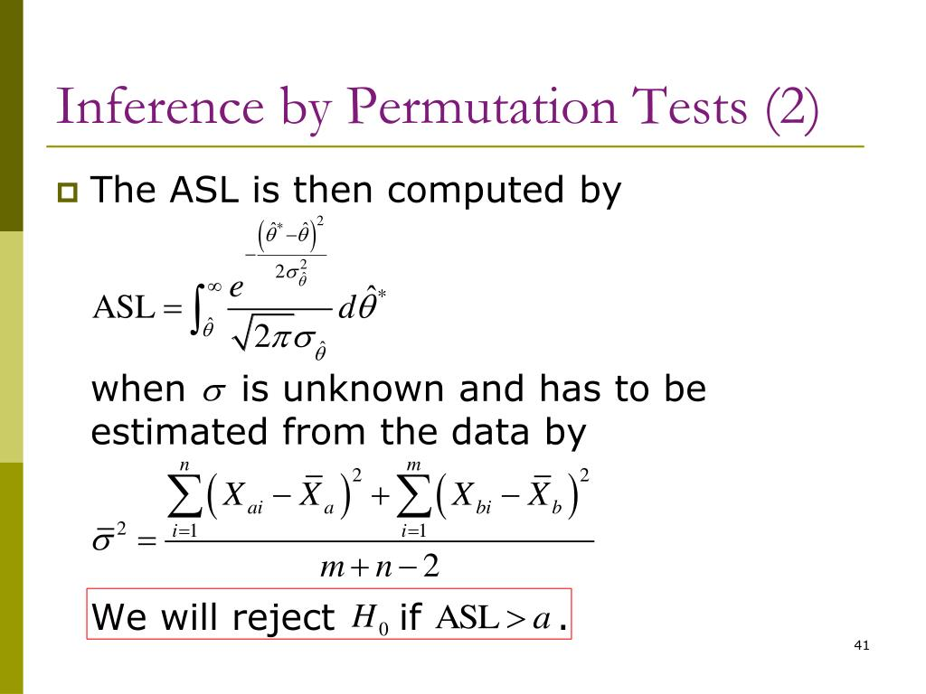 Inference by Permutation Tests (2)