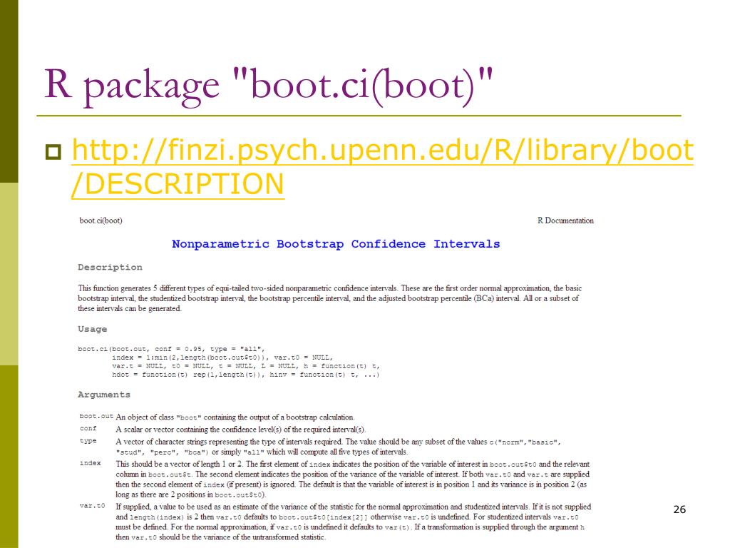 "R package ""boot.ci(boot)"""