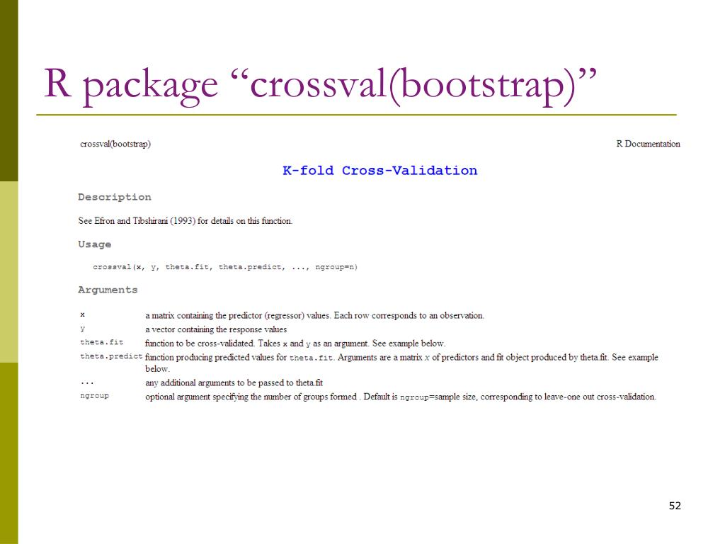 "R package ""crossval(bootstrap)"""