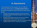 b requirements