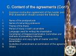 c content of the agreements con t