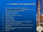 c content of the agreements