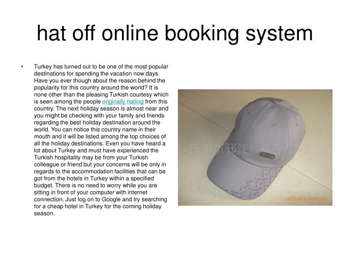 Hat off online booking system