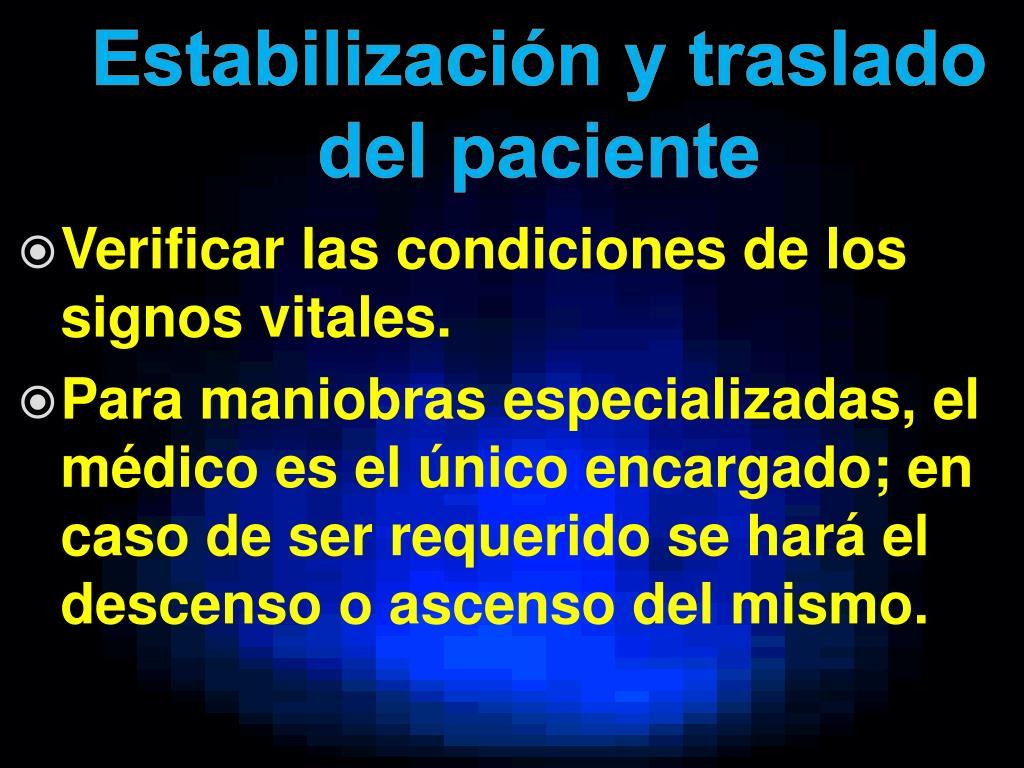 Estabilización y traslado del paciente