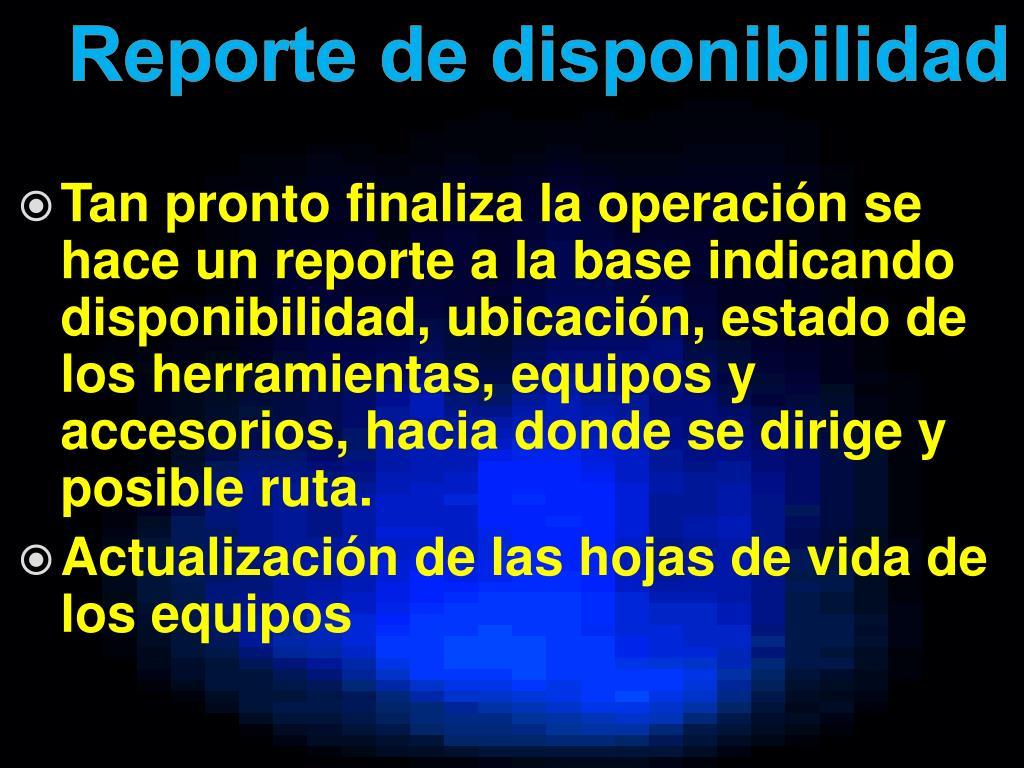 Reporte de disponibilidad