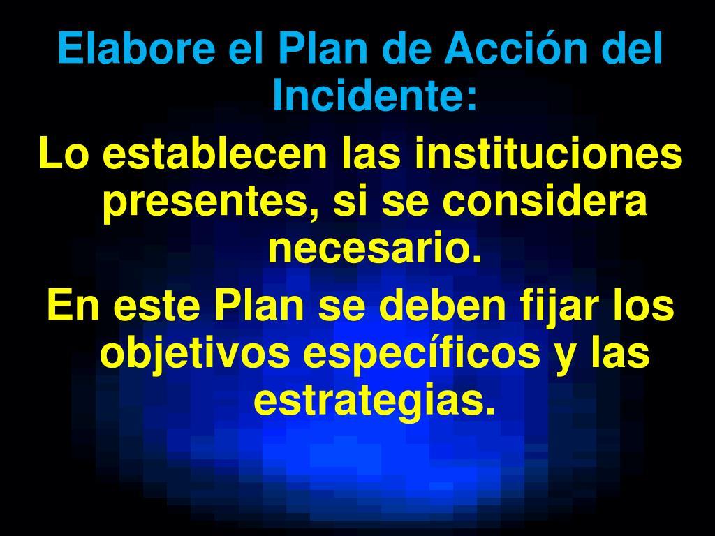 Elabore el Plan de Acción del Incidente: