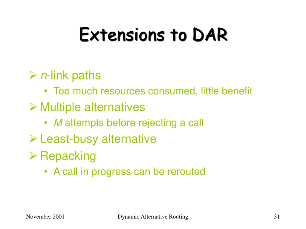 Extensions to DAR
