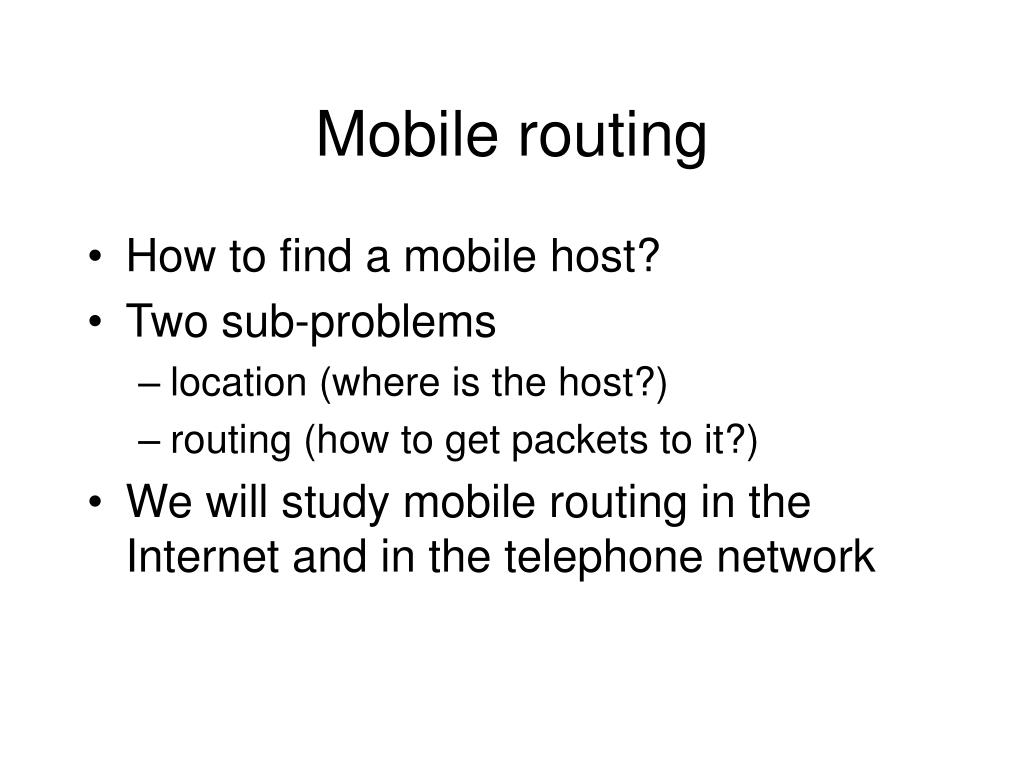 Mobile routing
