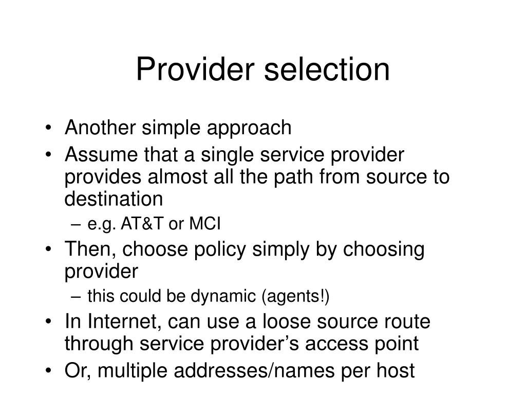 Provider selection