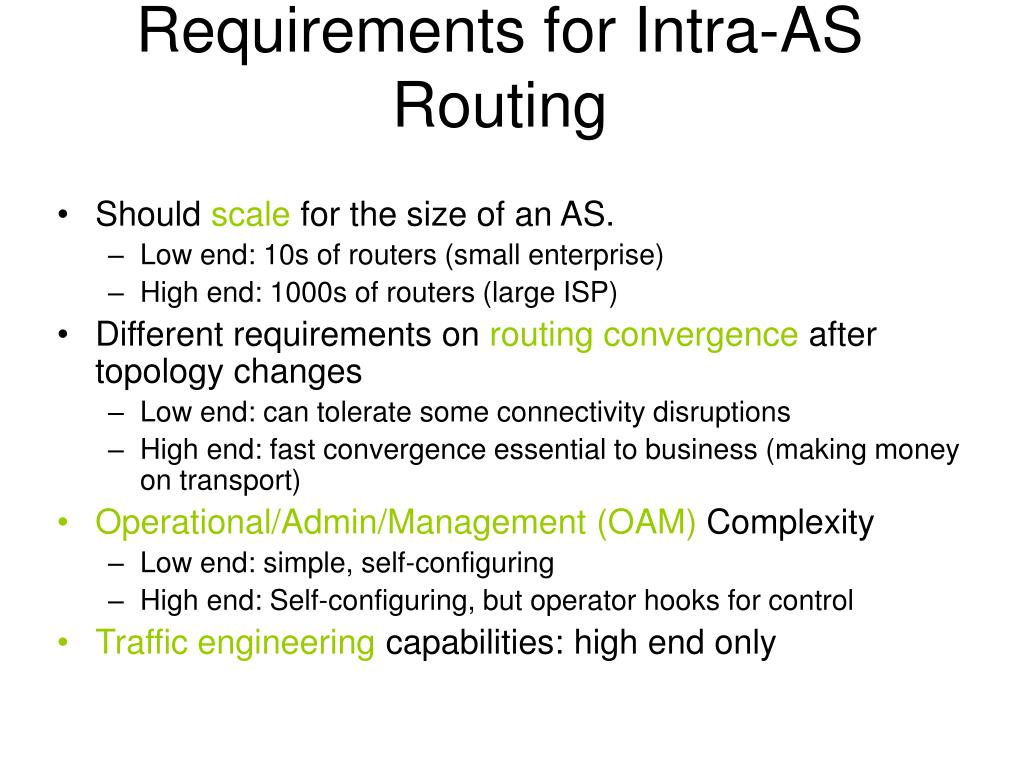 Requirements for Intra-AS Routing