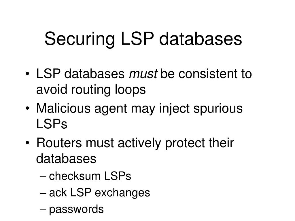 Securing LSP databases