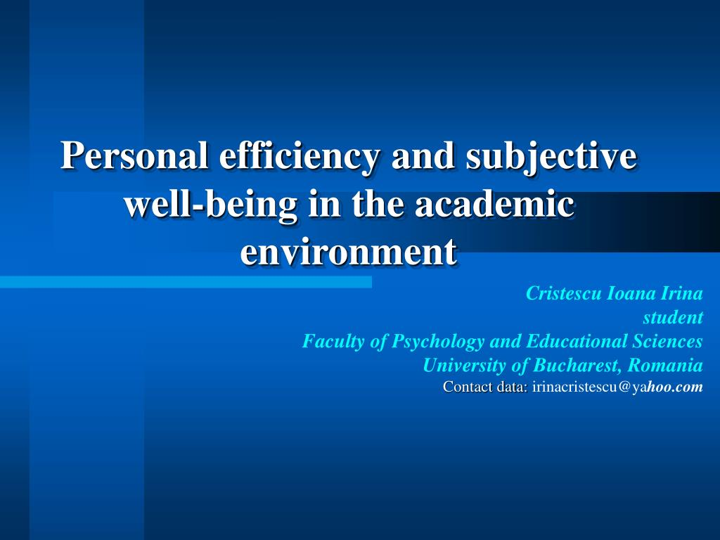 personal efficiency and subjective well being in the academic environment l.