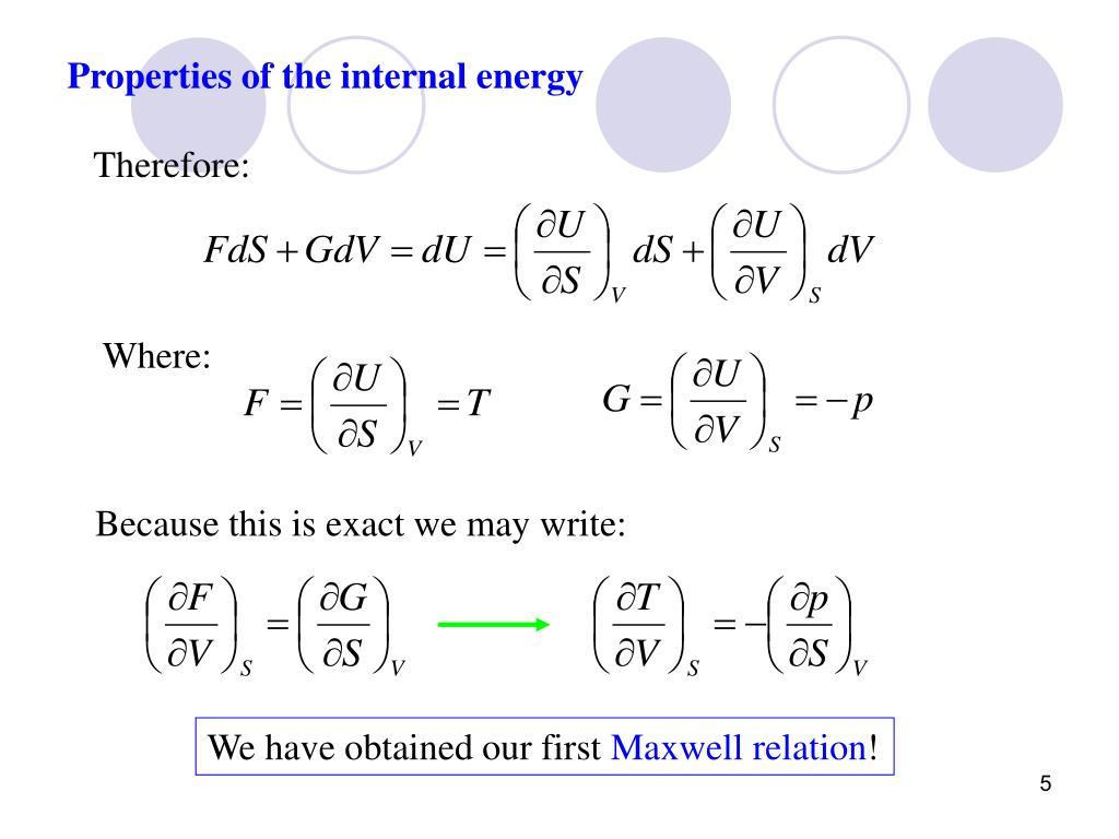 Properties of the internal energy