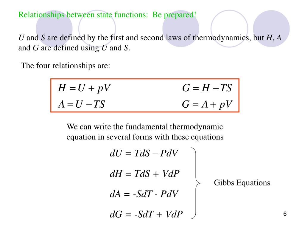 Relationships between state functions:  Be prepared!