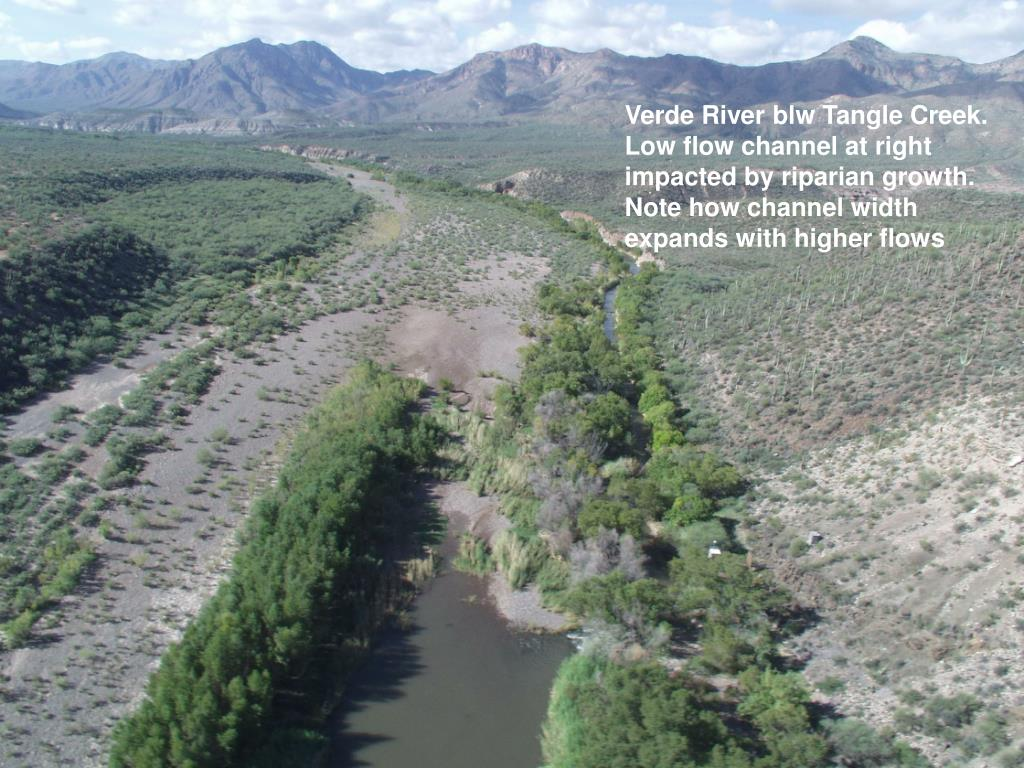 Verde River blw Tangle Creek. Low flow channel at right impacted by riparian growth. Note how channel width expands with higher flows