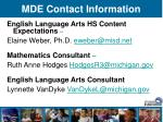 mde contact information51