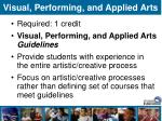 visual performing and applied arts