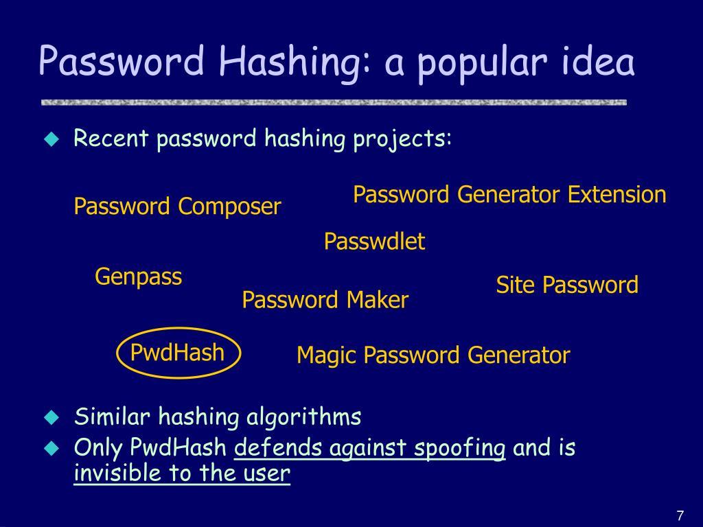 Password Hashing: a popular idea