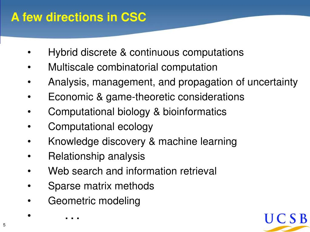 A few directions in CSC
