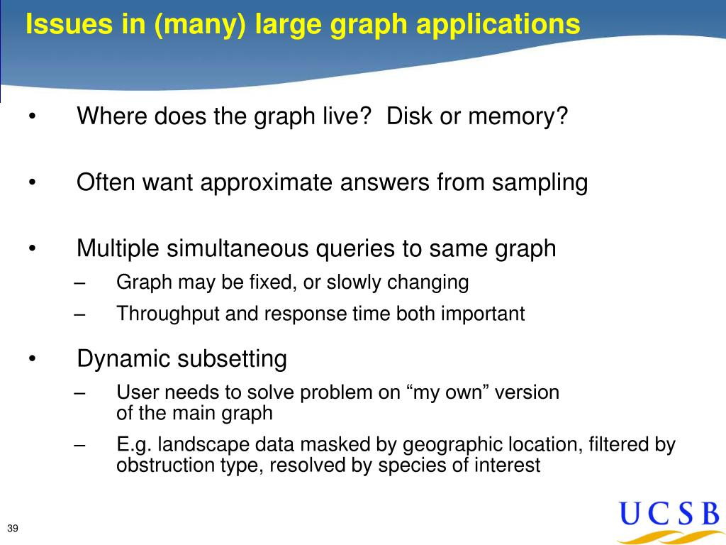 Issues in (many) large graph applications