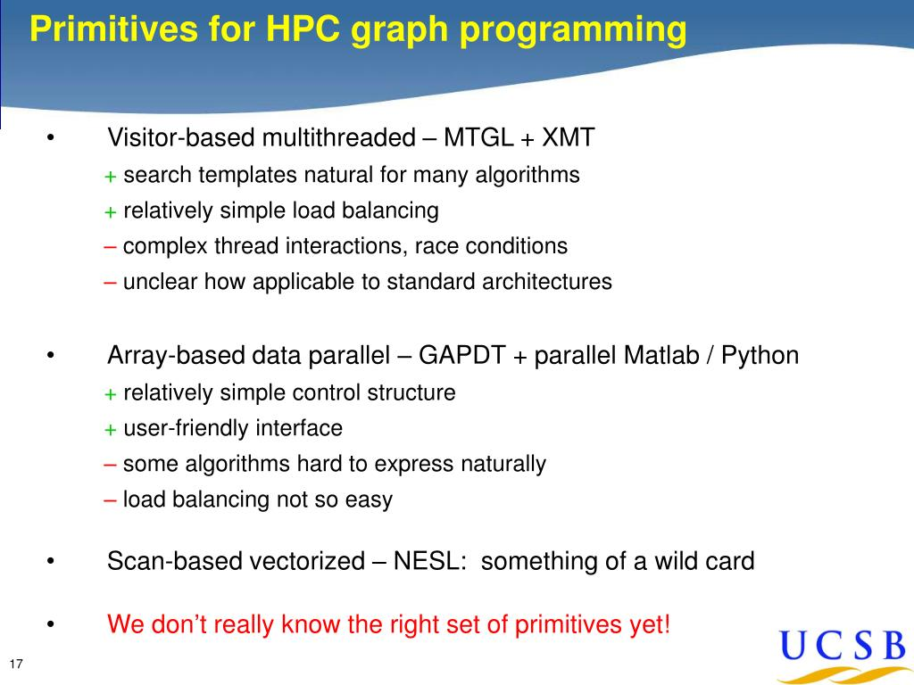 Primitives for HPC graph programming
