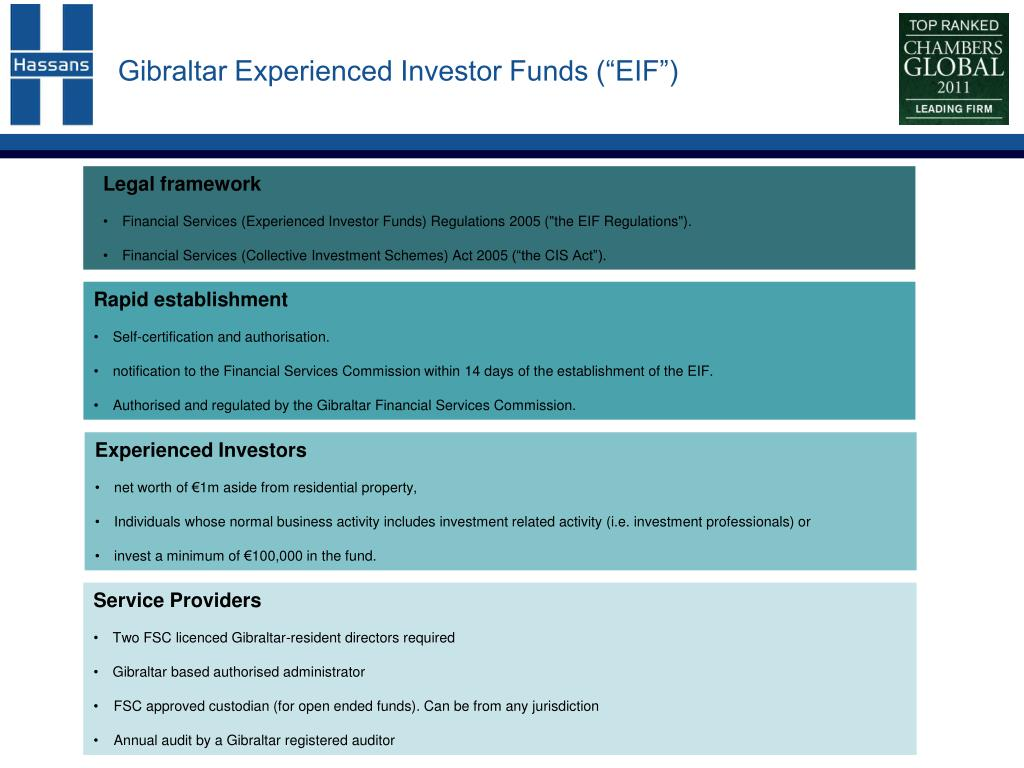 """Gibraltar Experienced Investor Funds (""""EIF"""")"""