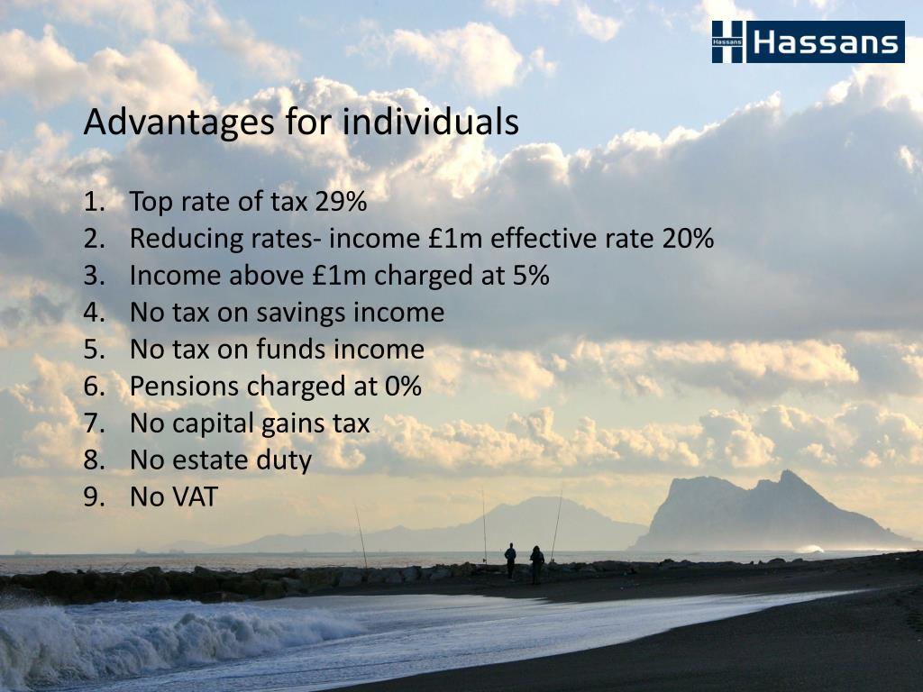 Advantages for individuals