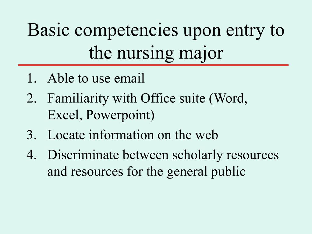 Basic competencies upon entry to the nursing major