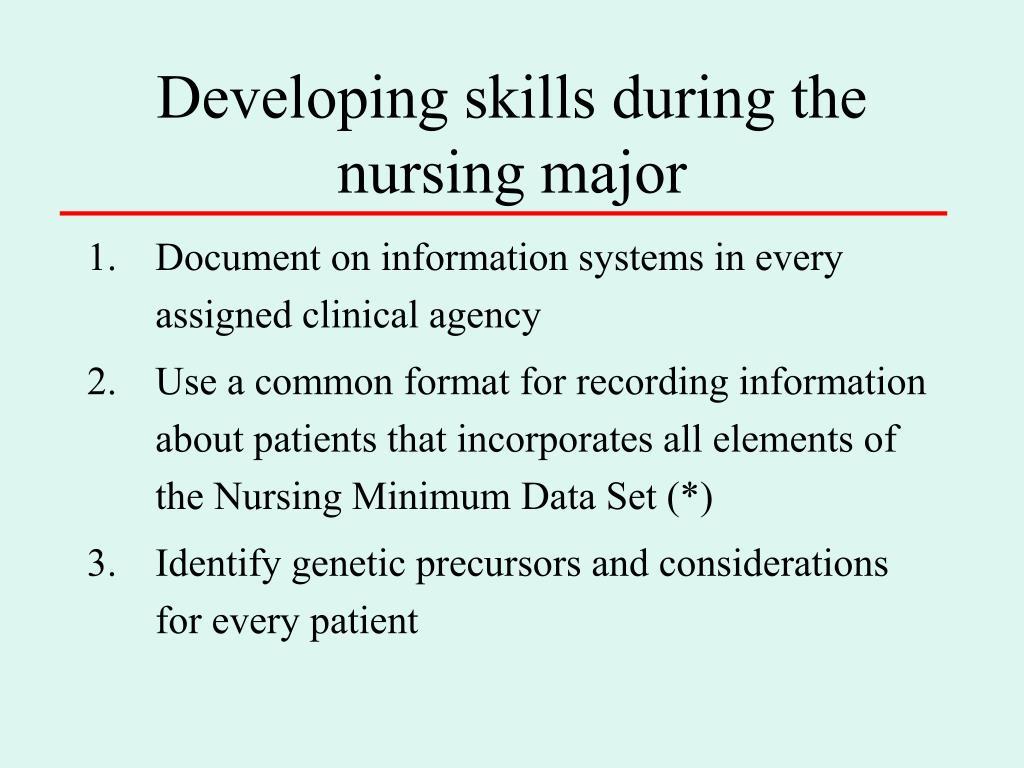 Developing skills during the nursing major
