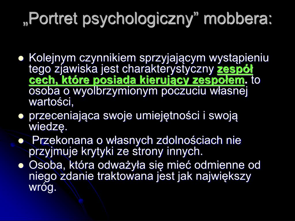"""Portret psychologiczny"" mobbera:"