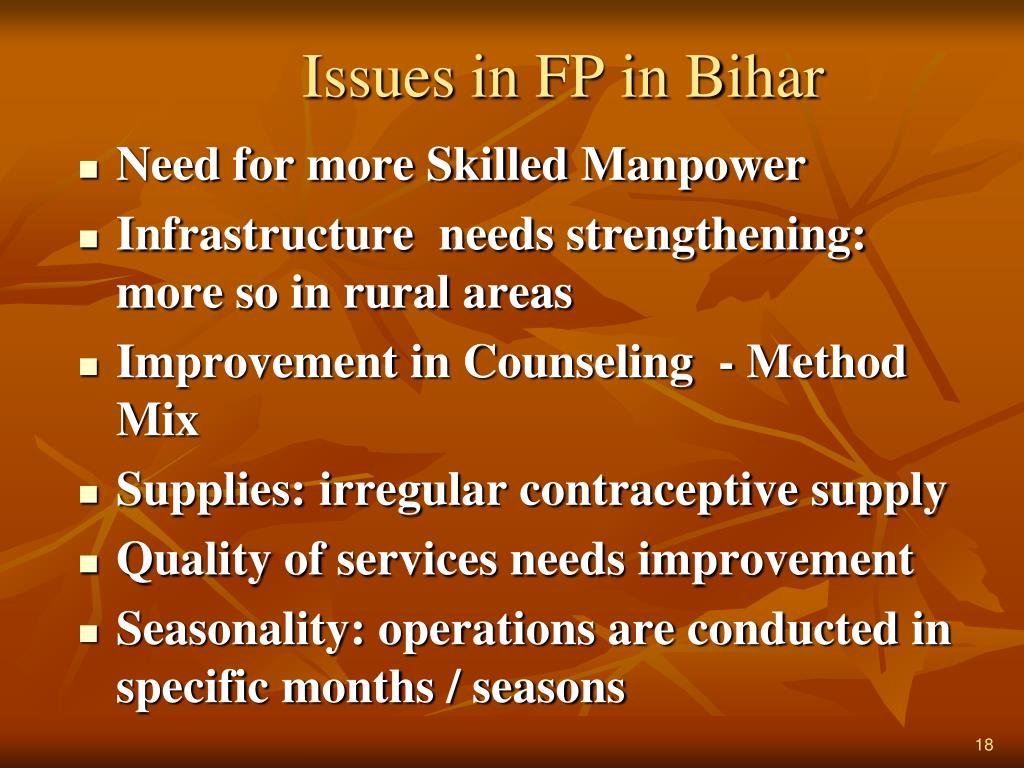 Issues in FP in Bihar