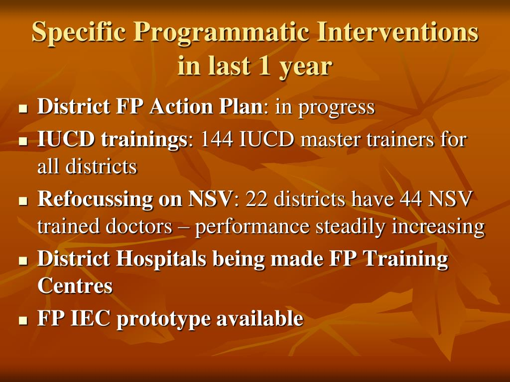Specific Programmatic Interventions in last 1 year