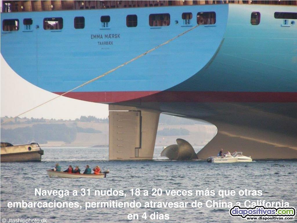 Navega a 31 nudos, 18 a 20 veces más que otras embarcaciones, permitiendo atravesar de China a California en 4 dias