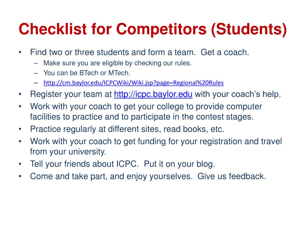 Checklist for Competitors (Students)