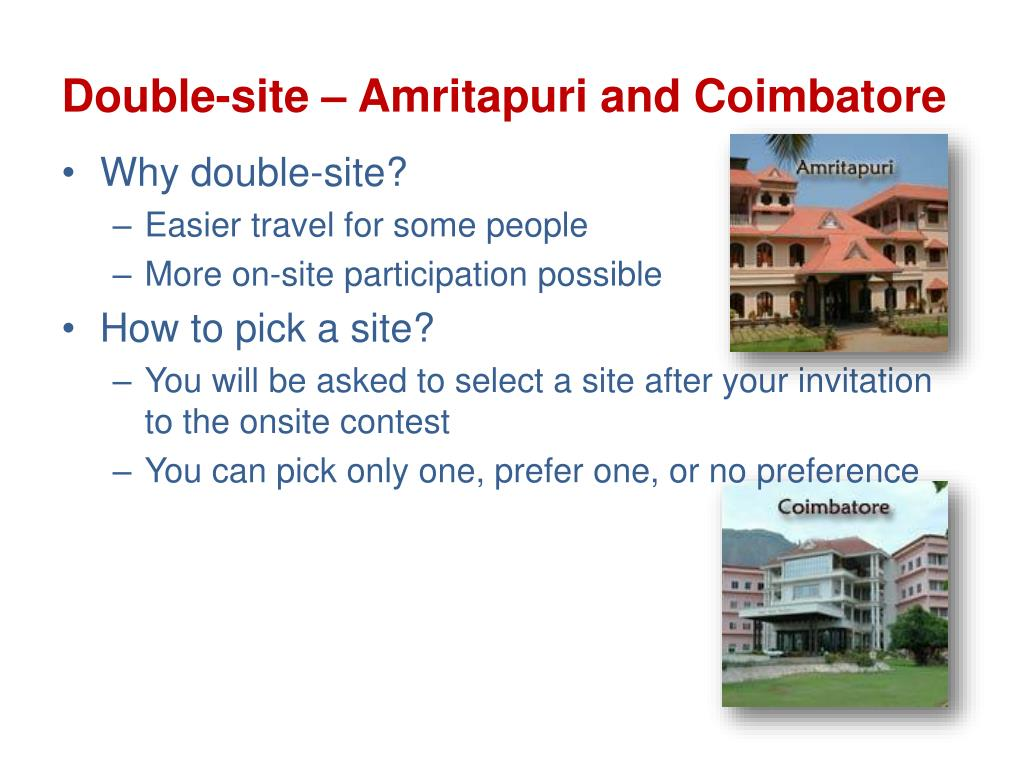 Double-site – Amritapuri and Coimbatore
