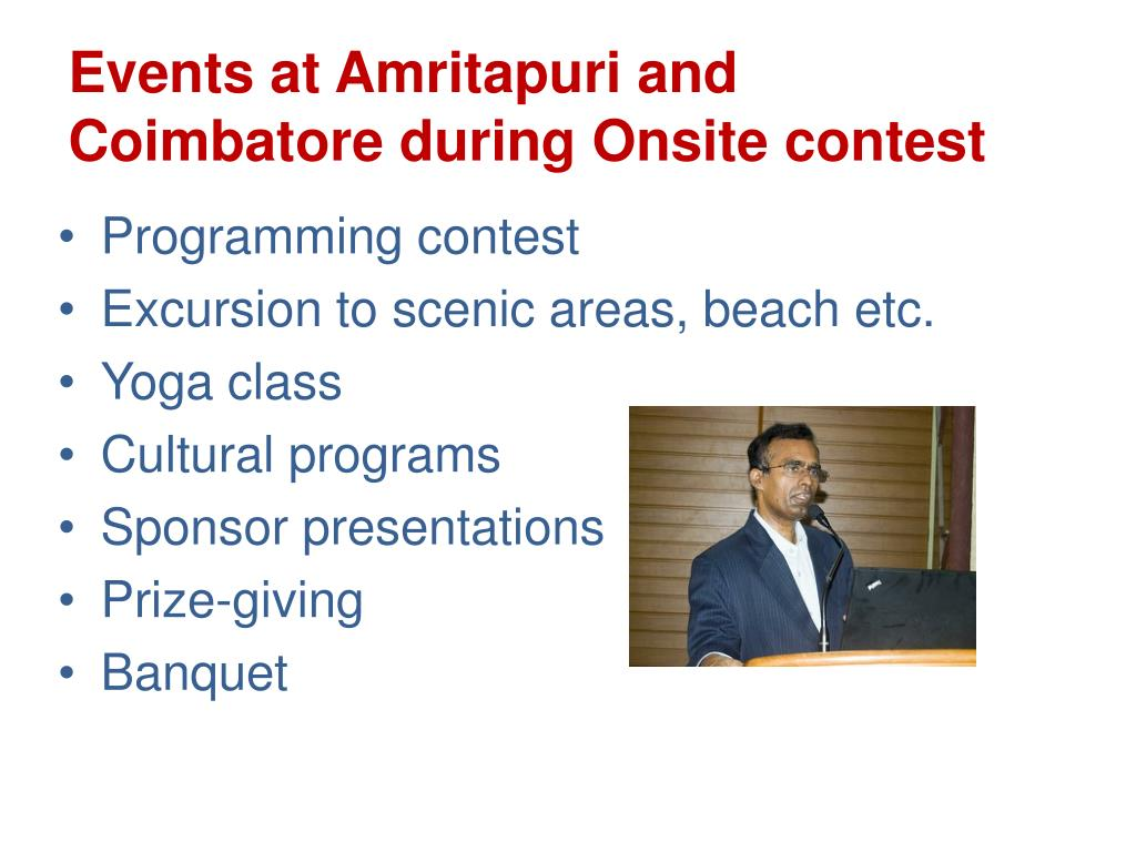 Events at Amritapuri and Coimbatore during Onsite contest
