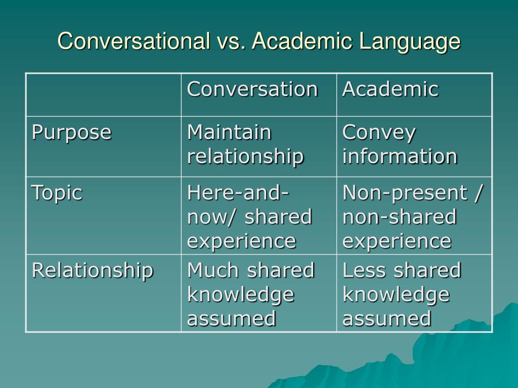 Conversational vs. Academic Language
